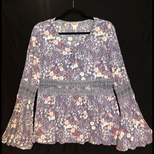 MOSSIMO Long Sleeve Floral Patterned Blouse
